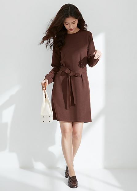 素色羅紋綁帶洋裝