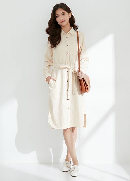 素色綁帶排釦洋裝