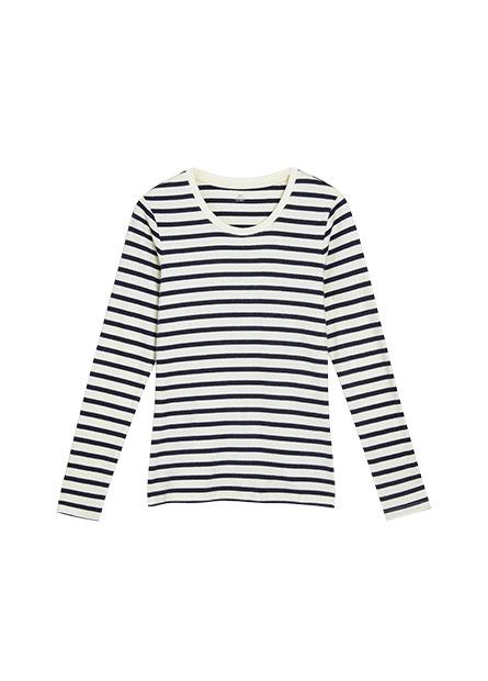 吸濕保暖條紋長袖T恤