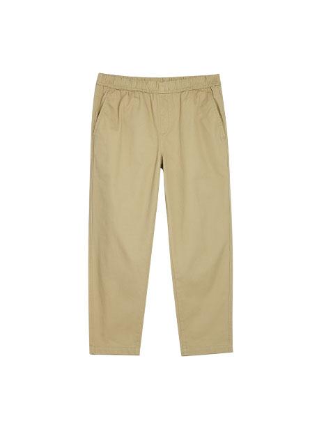 休閒素色鬆緊綁帶九分褲