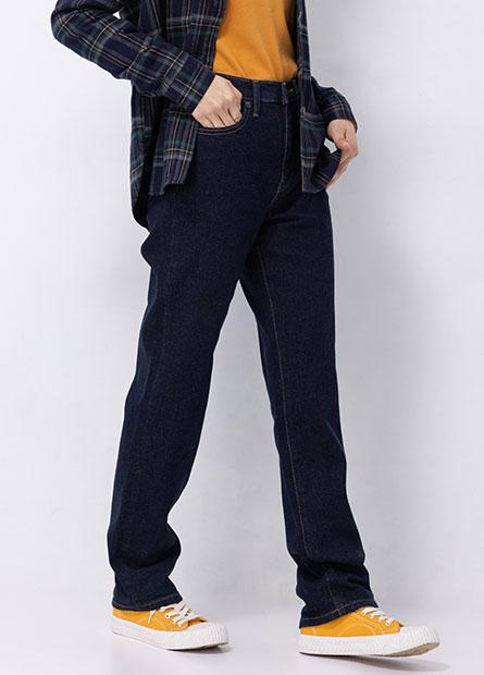 基本高腰直筒牛仔褲