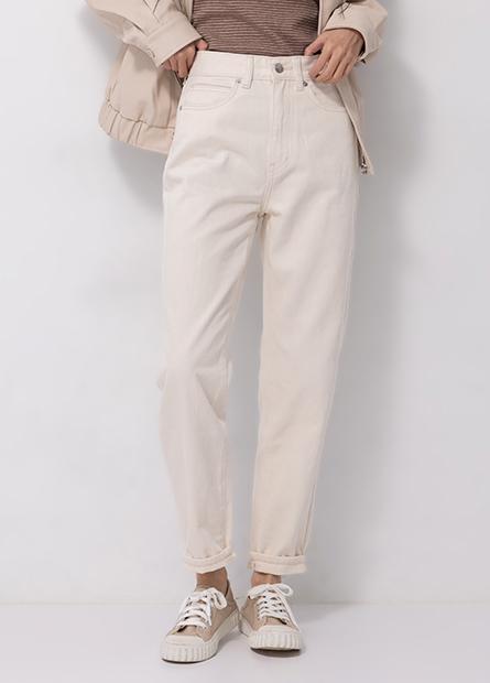 高腰錐形牛仔褲