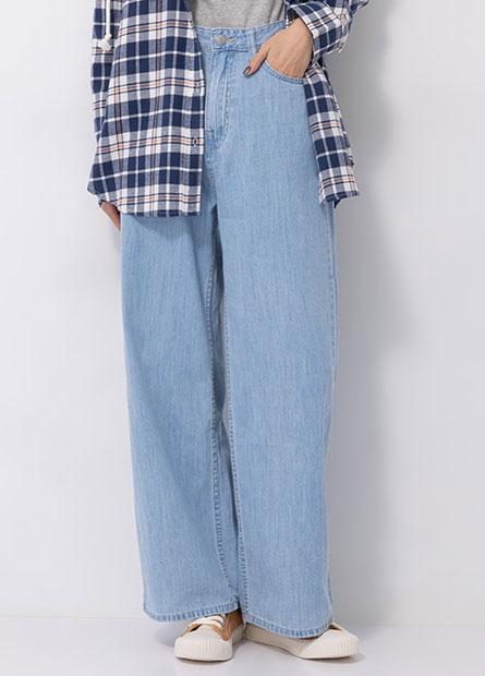基本高腰牛仔寬褲