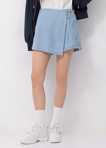 圍裹式牛仔褲裙