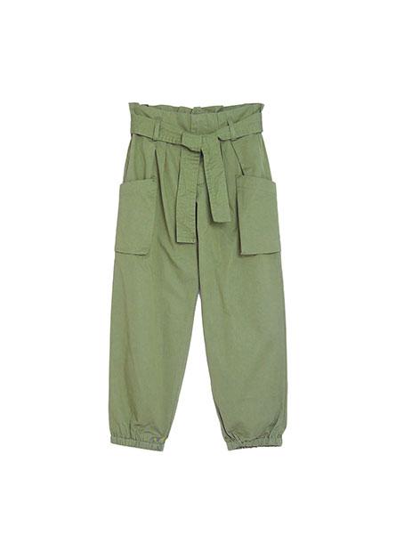女童棉質綁帶錐形束口褲