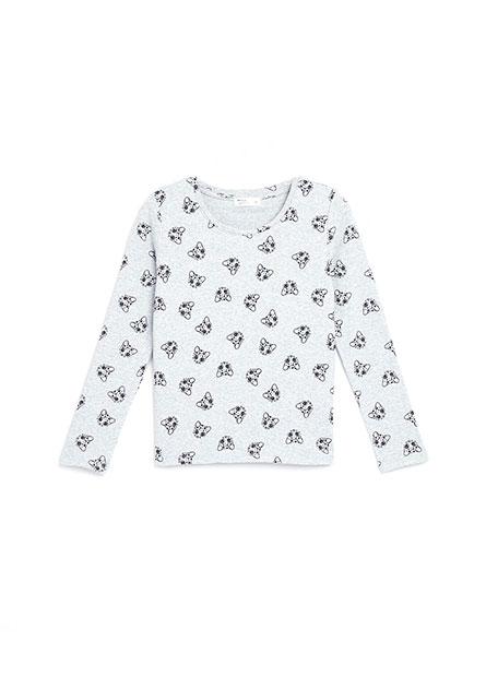 女童滿版印花羅紋磨毛長袖T恤