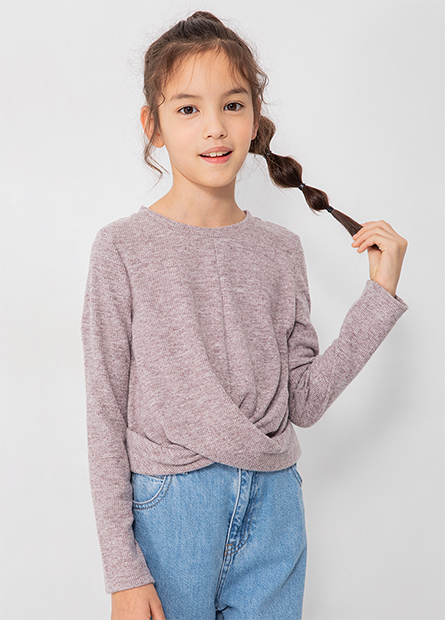 女童合身扭結羅紋上衣