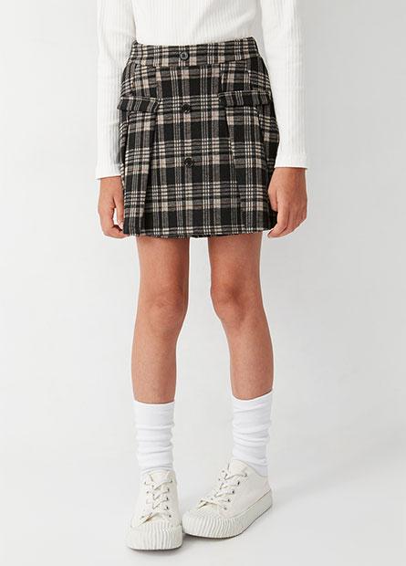 女童緹花格紋褲裙