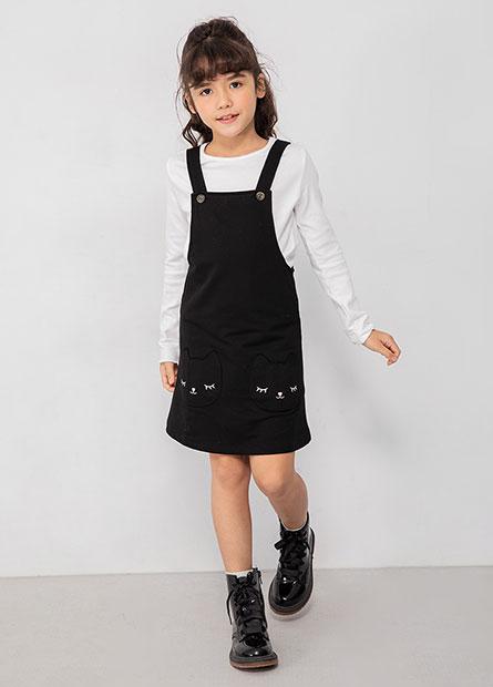 女童貓咪兩件式吊帶裙