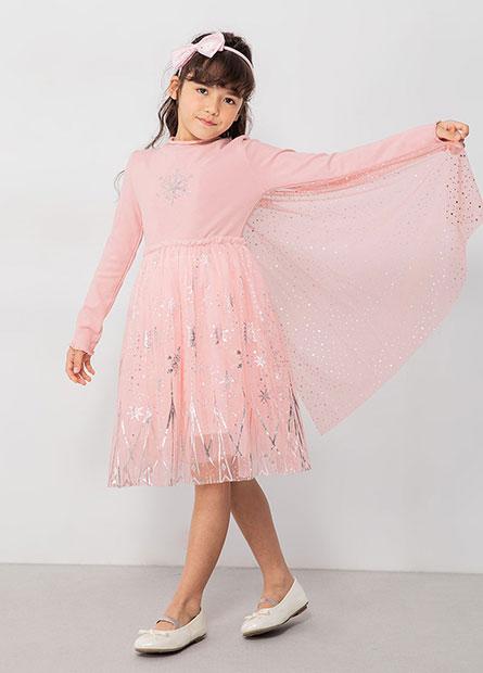 女童木耳邊雪花網紗洋裝