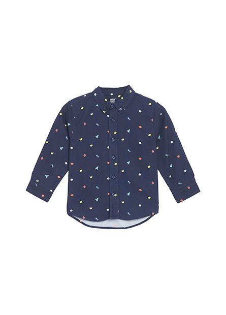 男嬰素面印花襯衫