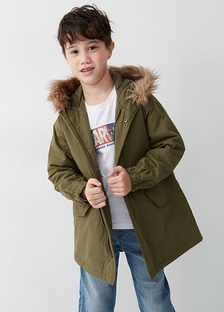 男童鋪棉可拆式連帽外套