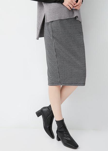 格紋鬆緊後衩中長裙