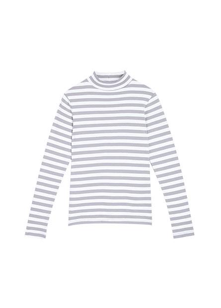 吸濕保暖立領條紋長袖T恤