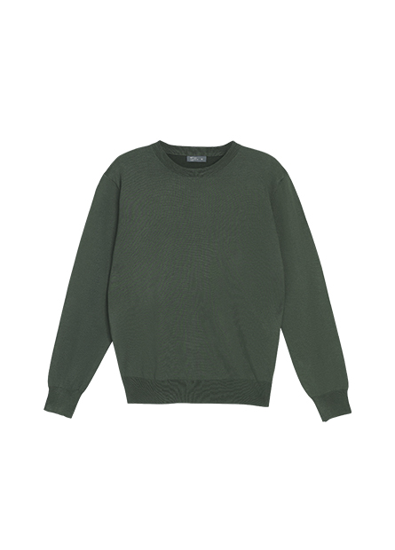 素色細針織圓領毛衣