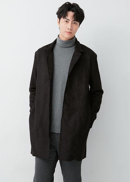 麂皮長版披掛外套