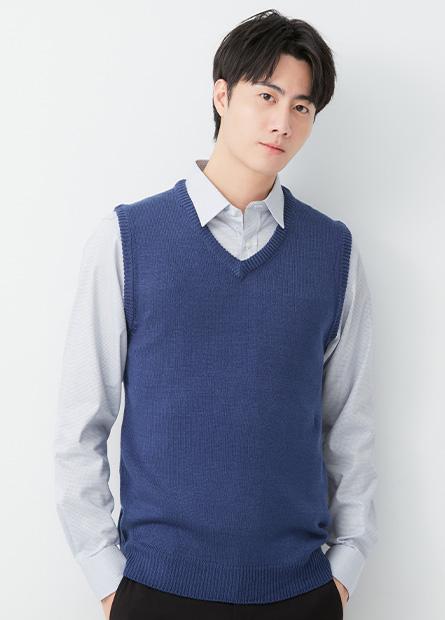 素色V領毛衣背心