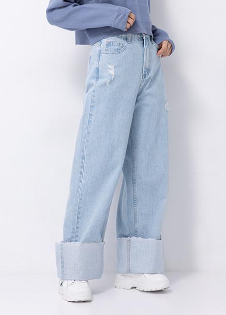 反摺刷破牛仔寬褲