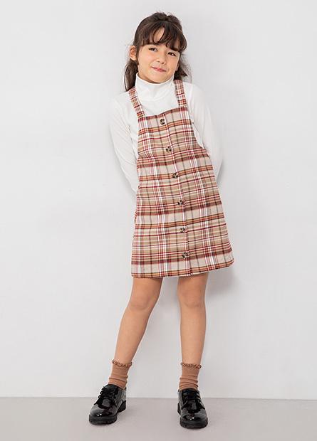女童高領格紋吊帶裙套裝
