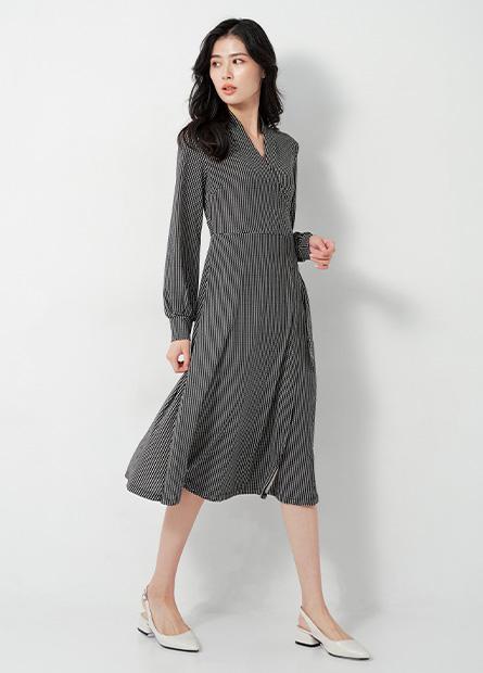 V領腰綁帶洋裝
