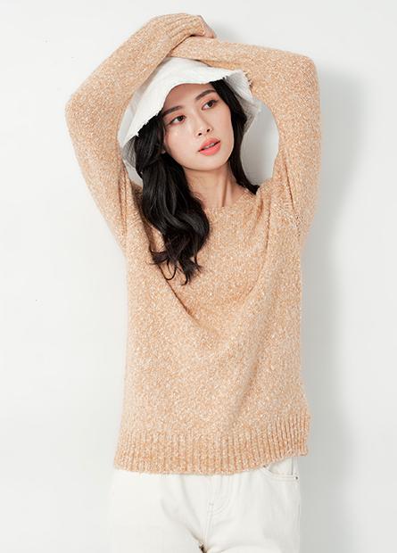 基本圓領混織開衩毛衣