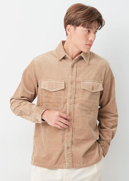 燈芯絨雙口袋襯衫