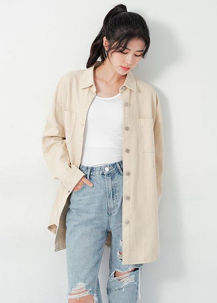 雙口袋牛仔襯衫外套