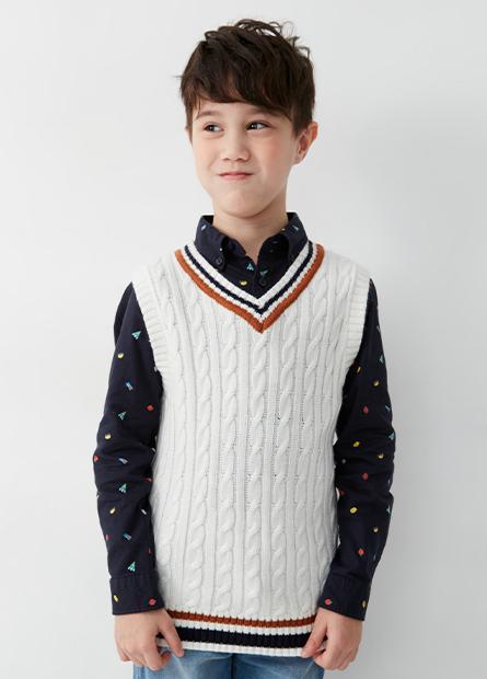 男童V領毛衣背心