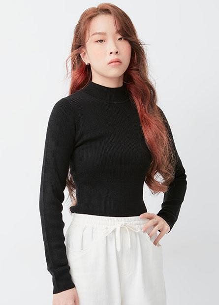 中高領羅紋合身毛衣
