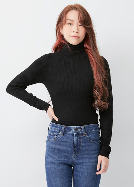 高領羅紋合身毛衣