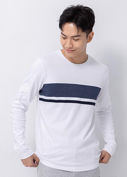 吸濕保暖拼接色塊長袖T恤