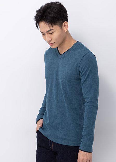 吸濕保暖雙層V領長袖T恤