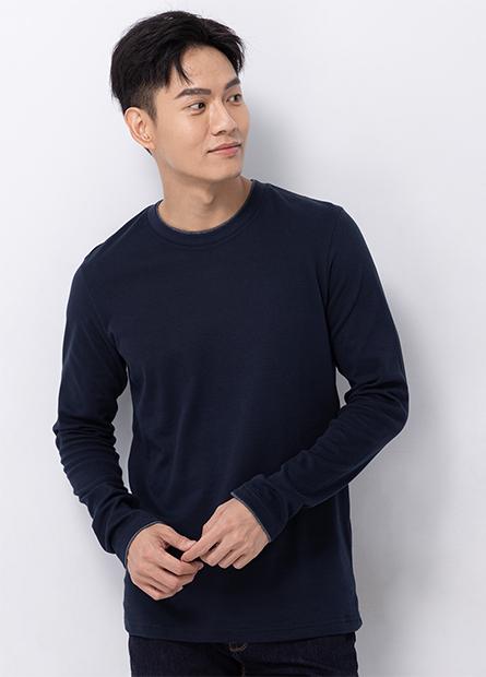 吸濕保暖雙層圓領長袖T恤