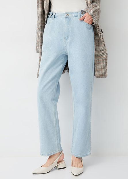 調節飾釦牛仔寬褲