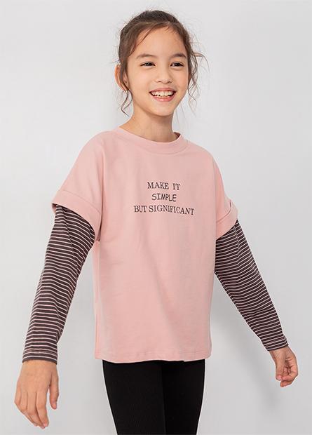 女童假兩件拼接袖上衣