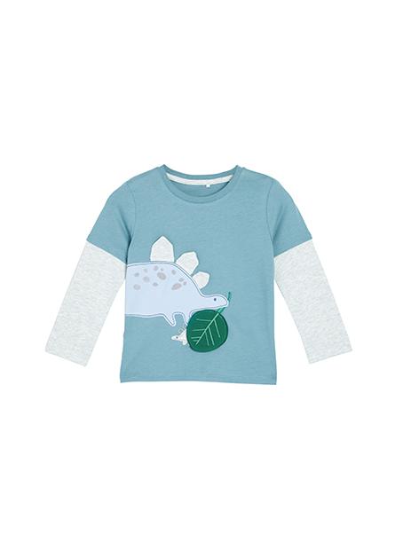男嬰親子恐龍貼布長袖T恤