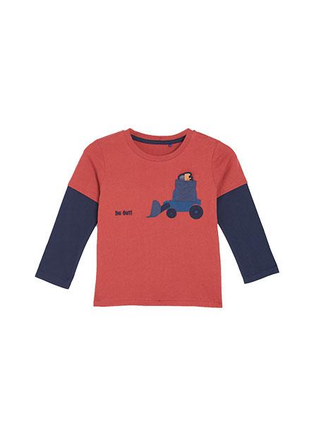 男嬰推土機口袋貼布長袖T恤