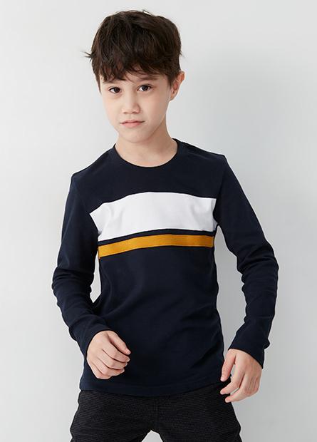 男童吸濕保暖胸剪接配條上衣