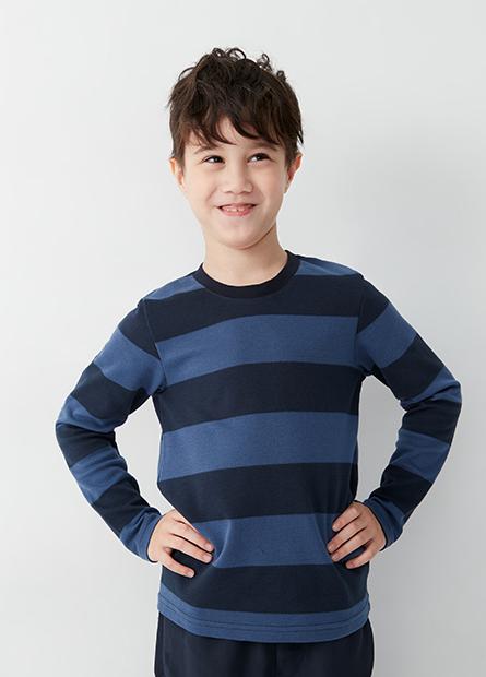 男童吸濕保暖圓領配條上衣
