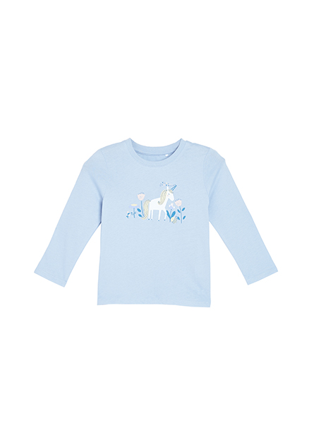 女嬰獨角獸印花長袖T恤