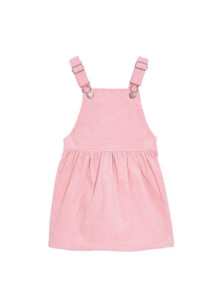 女嬰後鬆緊燈芯絨吊帶裙